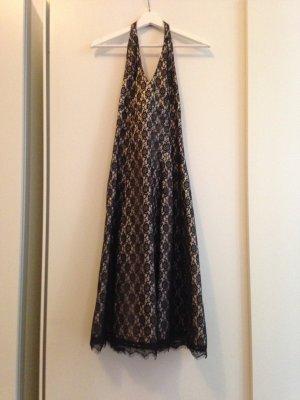 Neckholder Abendkleid in schwarz/gold