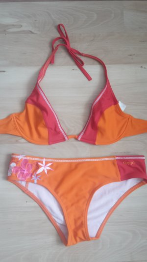 Neckholder Bikini von Arena in Orange/Rot mit Blumen an der Hose