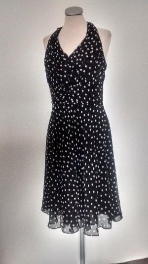 Neckholder Chiffon Kleid schwarz weiß Gr. 38 M Rockabilly knielang Kleid
