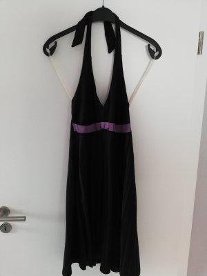 Vestido de cuello Halter negro-lila