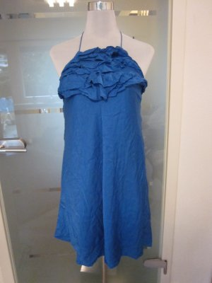 Neckholder Kleid aus Seide Royalblau Gr M