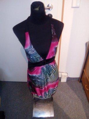 Neckholder-Kleid - bunt - sommerlich - mit Brosche - Größe S/M - Muse
