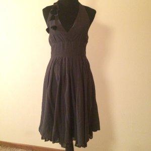 Neckholder Kleid grau mit Blümchen