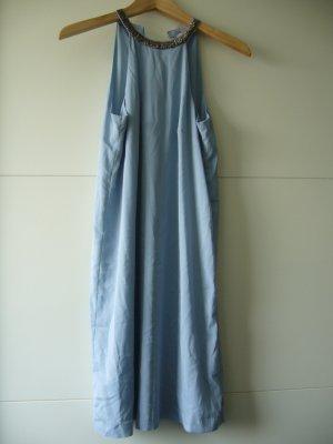 Neckholder Kleid hellblau Pailetten am Halssaum H&M XS 34