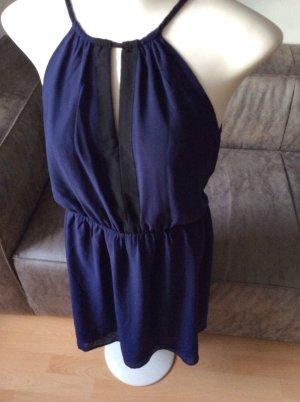 Neckholder-Kleid in lila-blau & schwarzen Elementen, Gr M