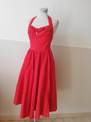 Neckholder Kleid Neckholderkleid rot Gr. 34 XS Sommerkleid Schleife Rockabilly