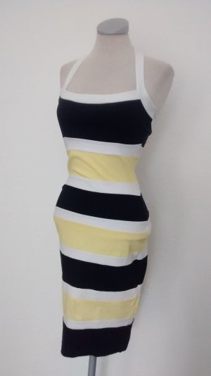 Neckholder Kleid retro Gr. UK 8 EUR 36 schwarz gelb gestreift Jane Norman