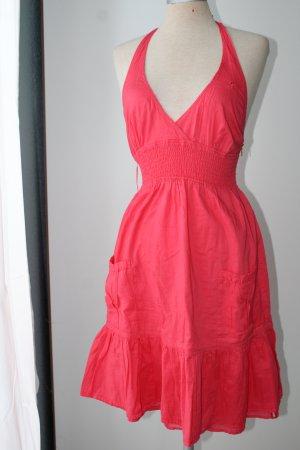 Neckholder Kleid rot Gr. 34 edc 100%Baumwolle figurbetonend, Stickerei Amor