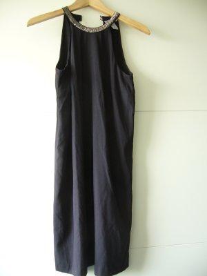 Neckholder Kleid schwarz Pailetten am Halssaum H&M XS 34