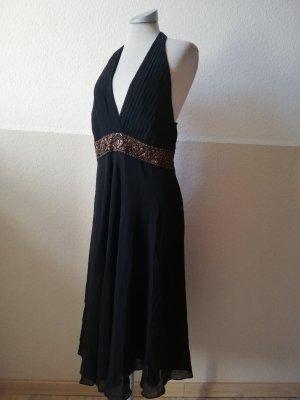 Neckholder Kleid Seidenkleid knielang Midikleid schwarz Pailletten Gr. UK 14 EUR 42 Seide