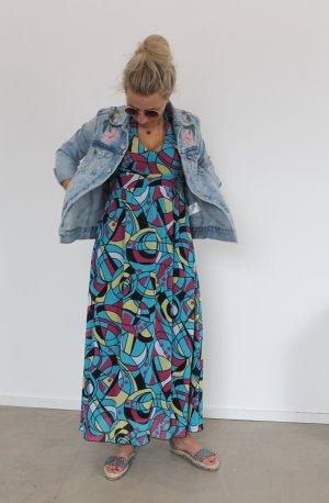 Neckholder Maxikleid Ethno-Style langes Kleid Sommer Bunt M 38 Chiffon Look