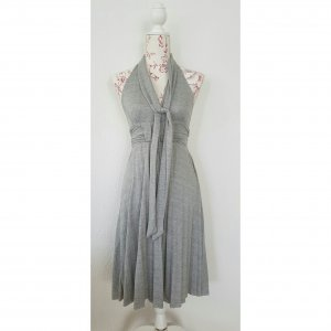 Neckholder plisse Kleid 'Marilyn' aus grau meliertem Sweat Soff