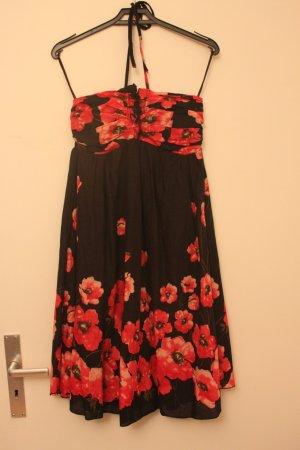 Neckholder-Sommerkleid (schwarz mit roten Blüten) in S von Yumi