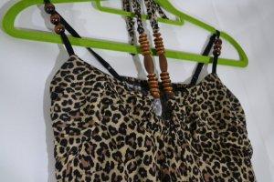 Neckholder top Leoparden Muster mit Perlen