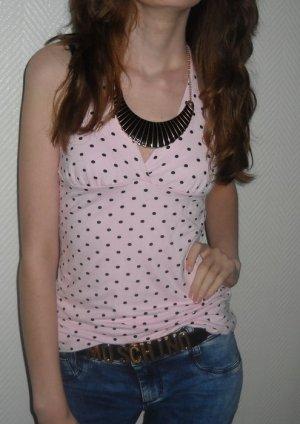 Neckholder Top Shirt Punkte Polka Dots rosa schwarz 34 36 38 XS S H M Pünktchen