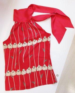 Neckholder Top Zara Basic Größe S 36 Rot Seide Tulpen Rosen Retro Muster Shirt Tunika Schalkragen