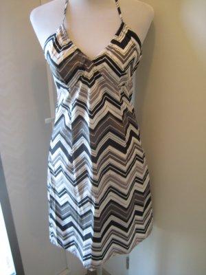Neckholder V Ausschnitt Kleid grau weiss Aztek Gr.S 38
