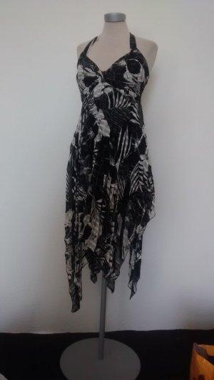 Neckholderkleid Gr. UK 10 38 schwarz weiß Chiffon Kleid zipflig asymetrisch