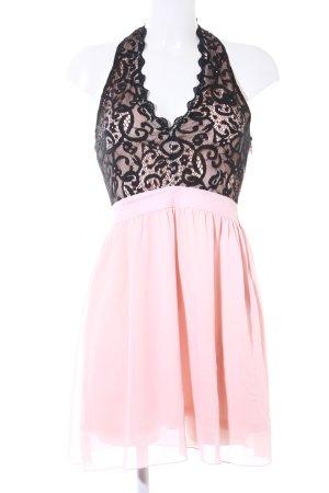 Halterjurk roze-zwart elegant