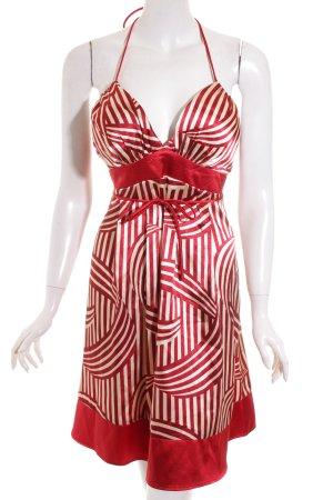Neckholderkleid rot-creme Streifenmuster Elegant