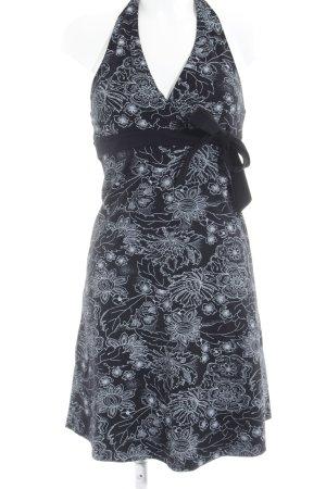 Neckholderkleid schwarz-hellgrau Blumenmuster 60ies-Stil