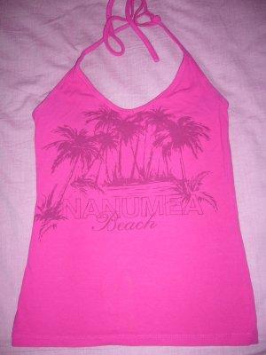 Neckholdertop pink Palmenprint 95 % Baumwolle H&M XS 34