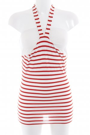 Halter Top natural white-brick red horizontal stripes casual look