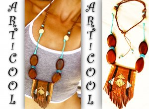Art Necklace brown-light blue leather