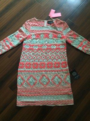 Needle Thread Kleid, kurz, neu, nude mit Pailletten, Unterkleid, NP 479