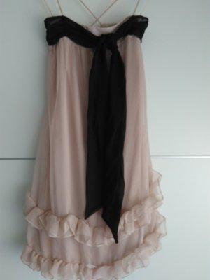 H&M Robe chiffon noir-vieux rose