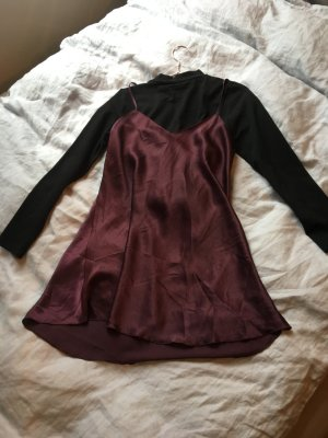 Negligé Kleid Spagettiträger Seide fließend Mini minikleid locker neglige sexy lila Aubergine