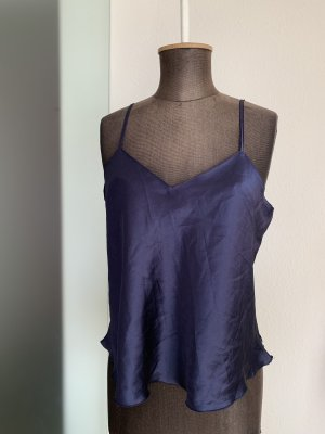 Negligé Top Untertop Gr 40 42 L Satin Look, Marineblau