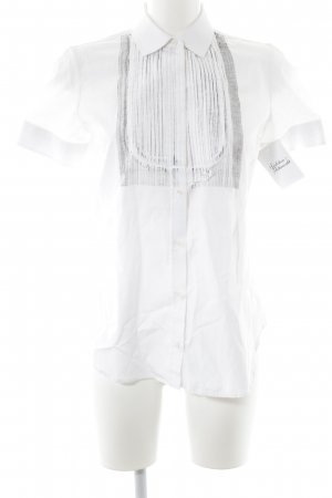 Neil Barrett Kurzarm-Bluse weiß-schwarz Streifenmuster Casual-Look