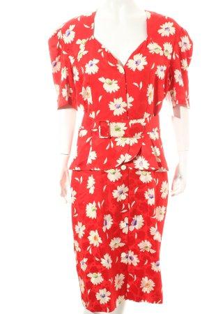 Neiman-Marcus Volantkleid weiß-rot Blumenmuster 80ies-Stil