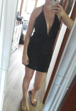Nelly NLY Trend Kleid Minikleid rückenfrei Lurex Glitzer Party Cocktail M Silvester