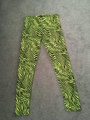 Leggings black-neon yellow polyester