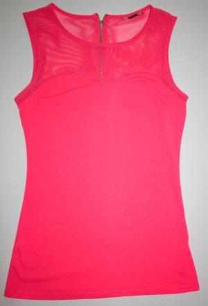 neon pinkes Top mit Netzeinsatz, Reißverschluss und Herzausschnitt
