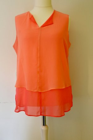 Neon-Top/ärmellose Bluse in pink/ orange, Lagen-Look, Größe 46