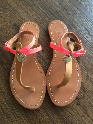 Sandalen met bandjes neonroos Leer