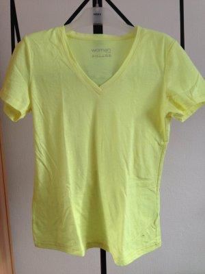 Neongelbes Shirt mit V Ausschnitt