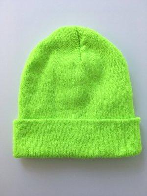 American Apparel Chapeau en tricot vert fluo