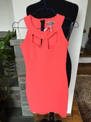 neonoranges / koralle kurzes Partykleid mit geometrischen Cut-Outs vorne