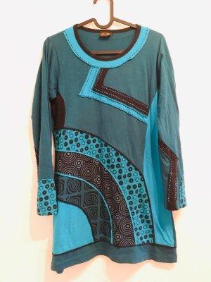Sweatshirt turquoise-noir