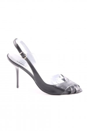 nera collezione Strapped High-Heeled Sandals silver-colored-black business style