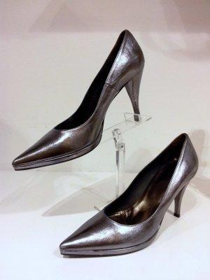 Nera Collezioni Metallic Silber Pumps Gr. 40 Italy New