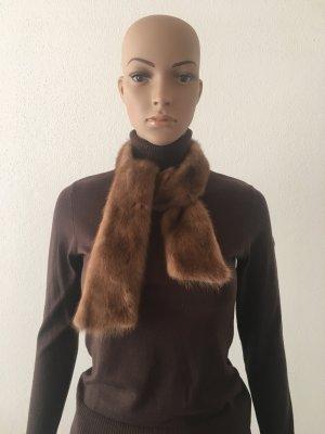 Nerz braun Schlamm Echt Pelz Fell Kragen Schal Schalkragen Luxus Geschenk Weihnachten Winter warm kuschelig