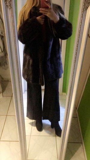Abrigo de piel marrón-negro