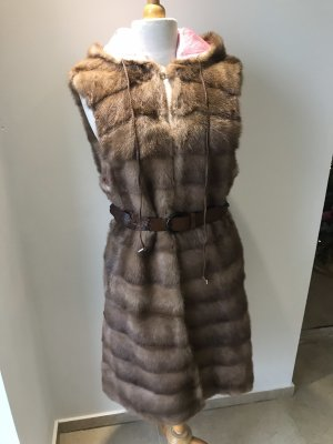 Fur vest light pink-beige