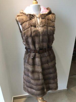 Fur vest light pink-beige