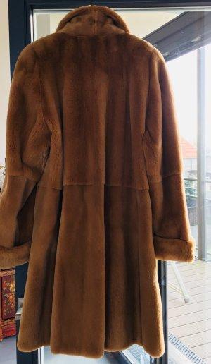 Saga Mink Pelt Coat light brown-cognac-coloured